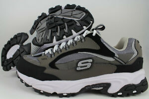 SKECHERS STAMINA NUOVO EXTRA WIDE 2E CHARCOAL GRAY BLACK CROSS TRAINER MEN SIZES