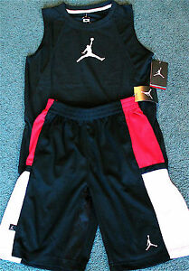NEW Nike Jordan Boys L BlackWhiteRed Dri-Fit Tank Top Shorts Set Large 14-16