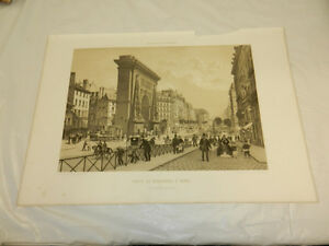 1861 LARGE Antique PrintParis in its SplendorBOULEVARD ST. DENIS