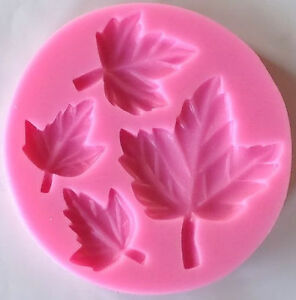 Leaves leaf 4 cavity Silicone Mold for fondant, gum paste, chocolate  NEW