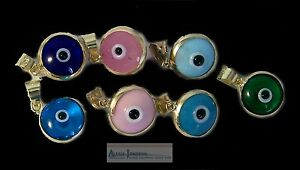 Turkish Evil Eye Protection Pendant - Amulet - or Charm - Solid 14k Gold Base