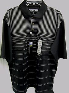 PEBBLE BEACH GOLF POLO BLACK M PERFORMANCE WICKING DRY FIT SHIRT NEW STRIPES MED $13.88