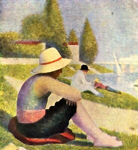 A swimming pool in Asnières, detail by Georges Seurat Giclee Repro on Canvas