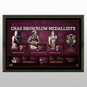 HISTORY OF THE BROWNLOW MEDAL - BRISBANE  SIGNED LITHOGRAPH AFLPA COA -FRAMED