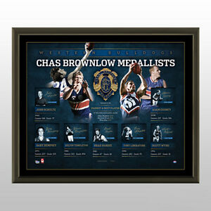 HISTORY OF THE BROWNLOW MEDAL - W'BULLDOGS  SIGNED LITHOGRAPH AFLPA COA -FRAMED