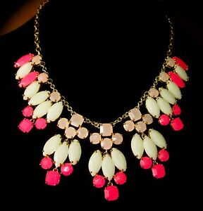 KATE SPADE MARQUEE BIB STATEMENT NECKLACE PINK WHITE GOLD NEW BRIDAL WEDDING