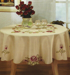 CREAM Tablecloth CUTWORK EMBROIDERED 6 8 8 10 10 12 seaters