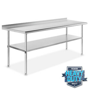 Stainless Steel 30quot; x 72quot; NSF Commercial Kitchen Work Prep Table with Backsplash