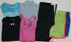 Under Armour Nike Girl's Athletic Lot of 6 Shorts Pants Tops Size YMD Medium