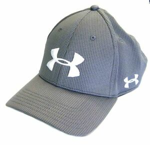 NEW Under Armour Blitzing Stretch-Fit Graphite GreyWhite OSFA Mens HatCap