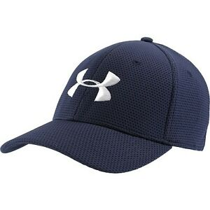 NEW Under Armour Blitzing Stretch-Fit NavyWhite OSFA Mens HatCap