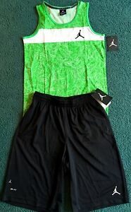 NWT Nike Air Jordan Boys L GreenBlack Graphic Print Dri-Fit Shorts Set L 14-16