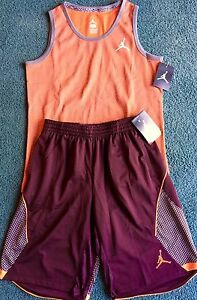 NWT Nike Jordan Boys XL OrangeBurgundy Elephant Print Dri-Fit Shorts Set XL 20