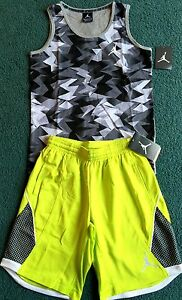 NWT Nike Air Jordan Boys L GrayBlackNeon Graphic Dri-Fit Shorts Set L 14-16