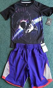 NWT Nike Air Jordan Boys L BlackPurple Space Dunk Dri-Fit Shorts Set L 14-16