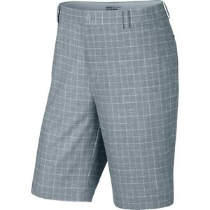 nike mens fairway plaid grey gray golf shorts dri-fit zip front pick size