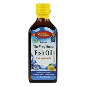 Carlson The Very Finest Norwegian Fish Oil Liquid Omega 3 DHA & EPA Lemon 6.7 oz