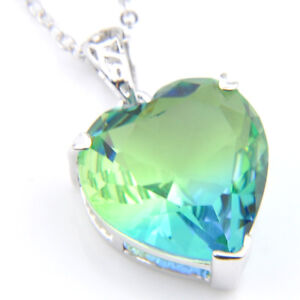 Romantic Love Heart Shaped Ocean Blue Topaz Gemstone Silver Necklace Pendants