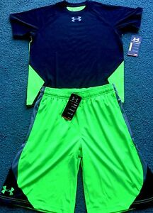NWT Boys Under Armour L Neon GreenBlackGray Reflective Logo Shorts Set YLG