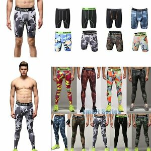 Compression Men's Gym Sports Base Layer Under Shorts Athletic Tights Long Pants