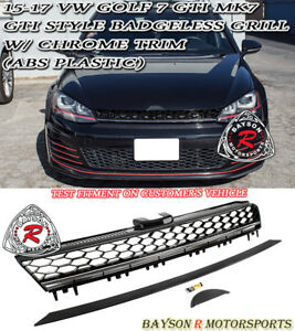 GTI-Style Badgeless Front Mesh Grill w Chrome Strip Fit 15-17 VW Golf 7 GTI MK7