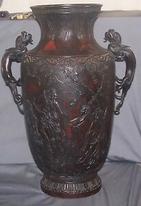 Antique Japanese Takusai Signed Red Bronze Sado Large 16.5
