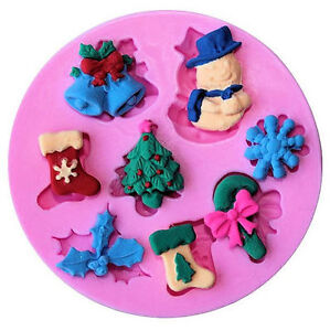 Christmas Things 8 cavities Silicone Mold Candy Fondant Cake Decorating