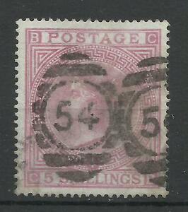 186783 Sg 130 5- Rose (CB) on Blued paper Plate 4 Good used.