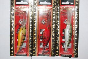 3 lures assortment lucky craft slim shad d-9 north yellow perch red craw bass