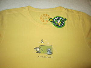 LIFE IS GOOD Camping Tent Jackie Girls Night Out SS TShirt NWT Womens Size XS
