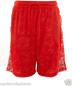 WOMEN'S NIKE BASKETBALL SHORTS MESH SIZE LARGE RED LACE WL SHORTS 704682 696