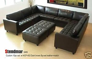 10PC CLASSIC EURO DESIGN LEATHER SECTIONAL SOFA S405B