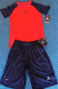 NWT Nike Air Jordan Youth Boys M RedBlack Dri-Fit Shorts Set Medium