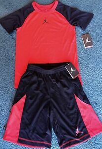 NWT Nike Air Jordan Youth Boys YLG RedBlack Dri-Fit Shorts Set Large