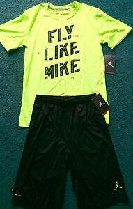 NWT Nike Jordan Boys YLG Neon YellowBlk FLY LIKE MIKE Dri-Fit Shorts Set Large