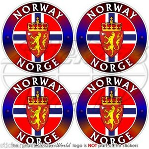 NORWAY NORGE Kongeriket Noreg, Norwegian 50mm 2 Bumper Helmet Sticker Decal x4