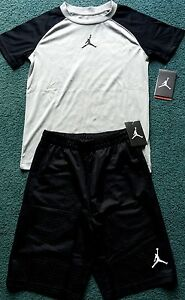 NWT Nike Jordan Boys YLG BlackGray Dri-Fit Shirt & Shorts Set Large