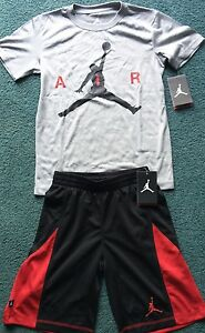 NWT Nike Jordan Boys YMD GrayBlackRed Dri-Fit AIR Shorts Set Medium