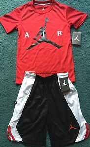 NWT Nike Jordan Boys YLG BlackRedWhite Dri-Fit AIR Shorts Set Large