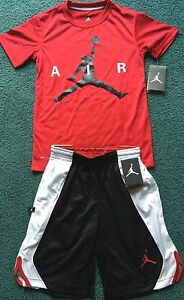 NWT Nike Jordan Boys YSM BlackRedWhite Dri-Fit AIR Shorts Set Small
