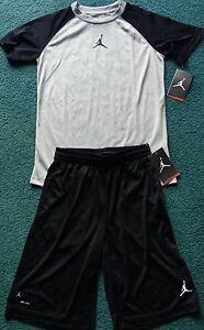 NWT Nike Jordan Boys YGL BlackGray Dri-Fit Shorts Set Large