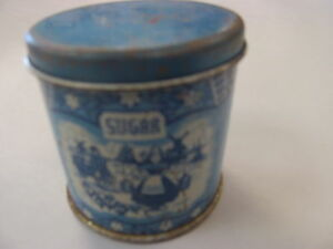 childs tin blue dutch windmill sugar canister toys