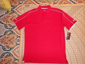 MENS LARGE RED UNDER ARMOUR STONEBROOKE GOLF CLUB SHIRT - NWT
