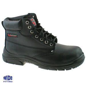 MENS GRAFTERS BLACK LEATHER WIDE FITTING SAFETY WORK BOOTS SIZE 6–13 M9503A KD