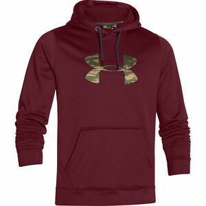under armour mens storm1 pullover hoodie coldgear red maroon camo logo large