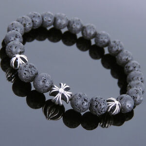 Men's Women Lava Rock 925 Sterling Silver Cross Beads Bracelet DIY-KAREN 767