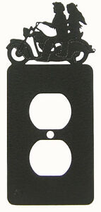 Motorcycle Man Woman Single Outlet Cover Plate Black