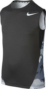 BOY'S SIZE LARGE 14-16 NIKE CAMO SLEEVELESS T-SHIRT DRI-FIT $30 NWT GRAY