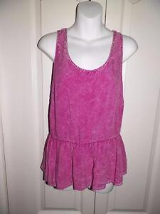 ANTHROPOLOGIE PINS AND NEEDLES Heathered Peplum Tank Top Small