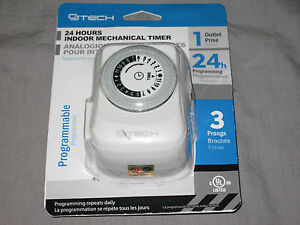 CJ Tech 24 Hours Indoor Mechanical Timer Programmable 1 Outlet NEW!